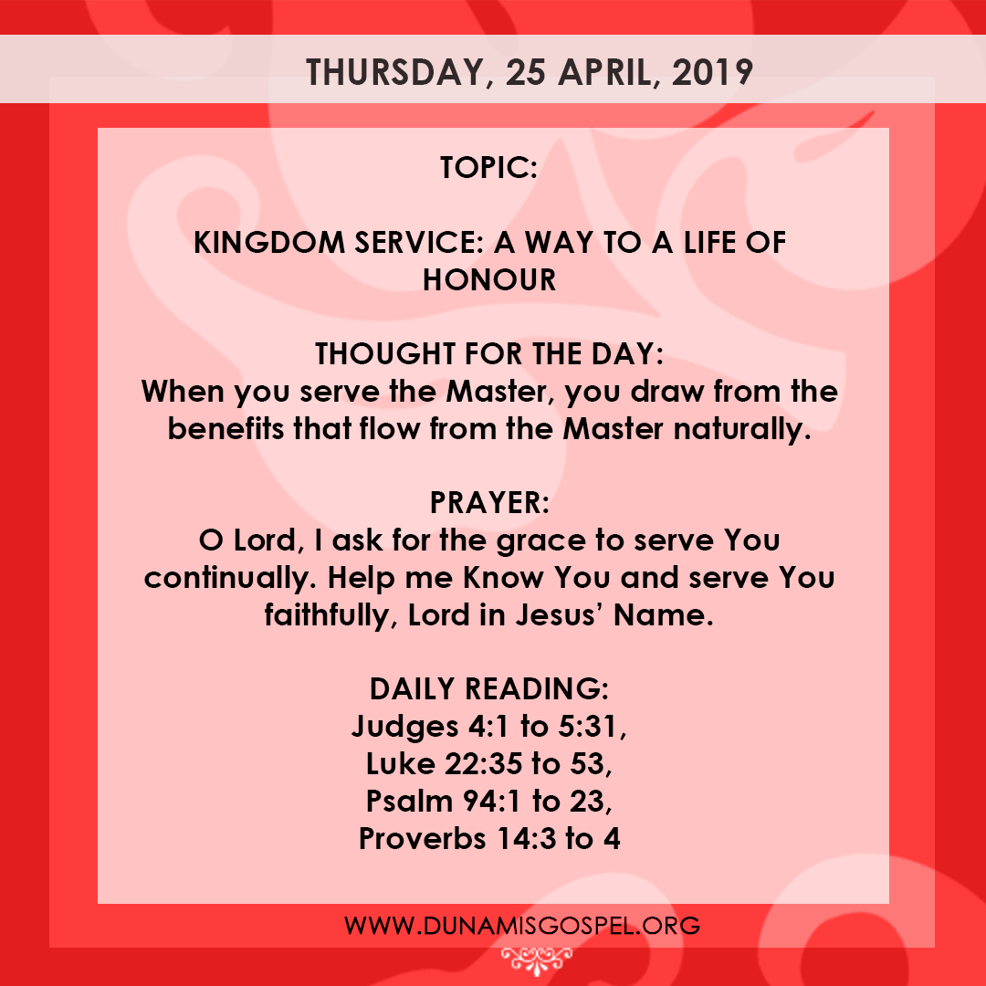 SEED OF DESTINY THURSDAY, 25 APRIL, 2019
