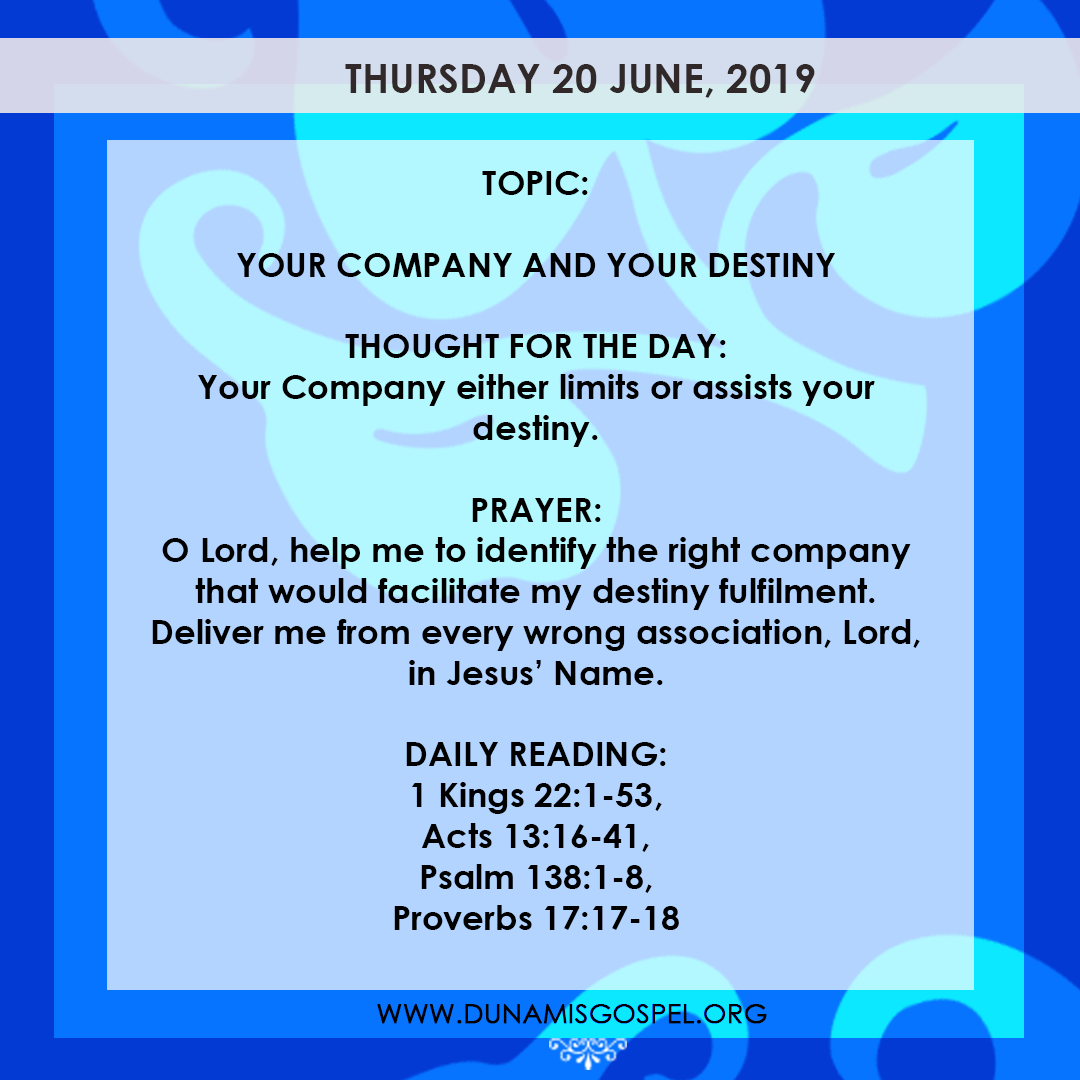 Seeds of Destiny 20 June, Seeds of Destiny 20 June 2019 – Your Company And Your Destiny