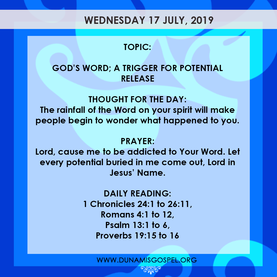 Seeds of Destiny 17 July 2019, Seeds of Destiny 17 July 2019 – God's Word: A Trigger For Potential Release, Latest Nigeria News, Daily Devotionals & Celebrity Gossips - Chidispalace