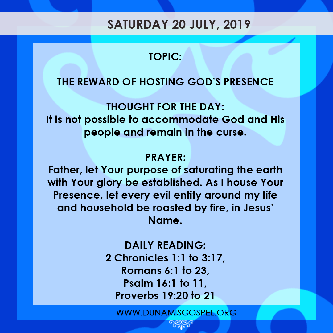 Seeds of Destiny 20 July 2019, Seeds of Destiny 20 July 2019 – The Reward of Hosting God's Presence