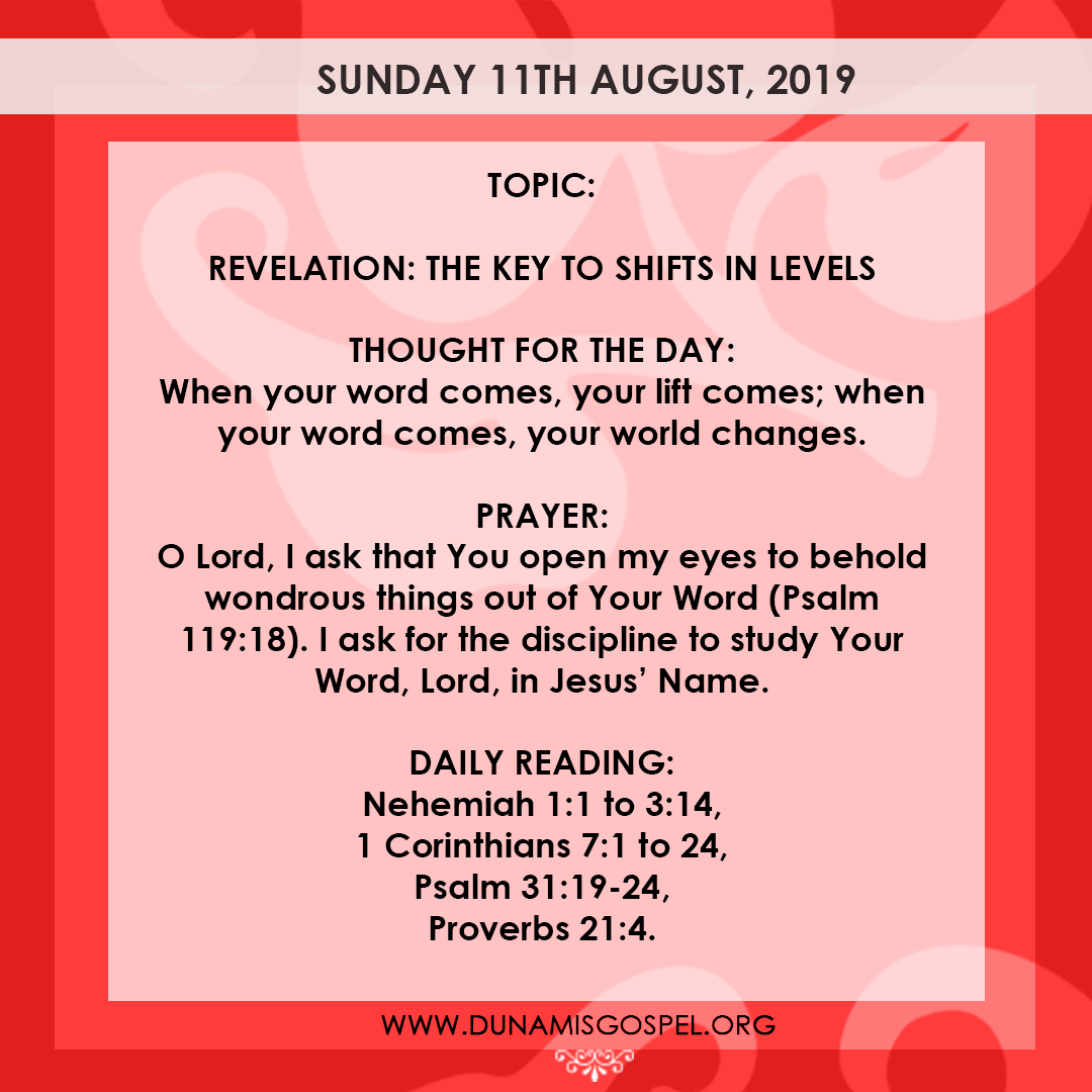 Seeds of Destiny 11 August 2019 - Revelation: The Key To Shifts In