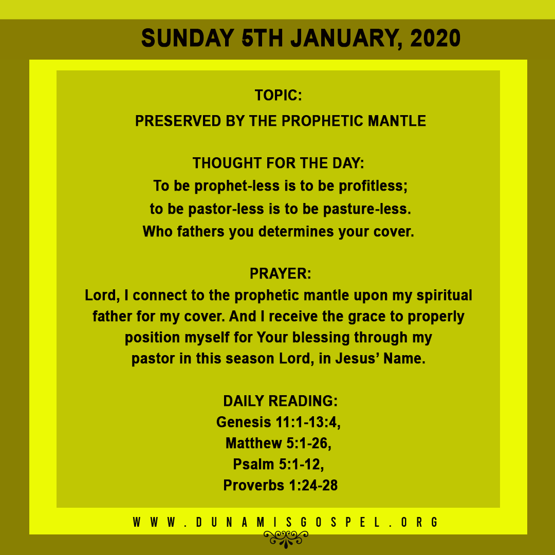 SEEDS OF DESTINY 5 JANUARY 2020, SEEDS OF DESTINY 5 JANUARY 2020 – PRESERVED BY THE PROPHETIC MANTLE, Latest Nigeria News, Daily Devotionals & Celebrity Gossips - Chidispalace
