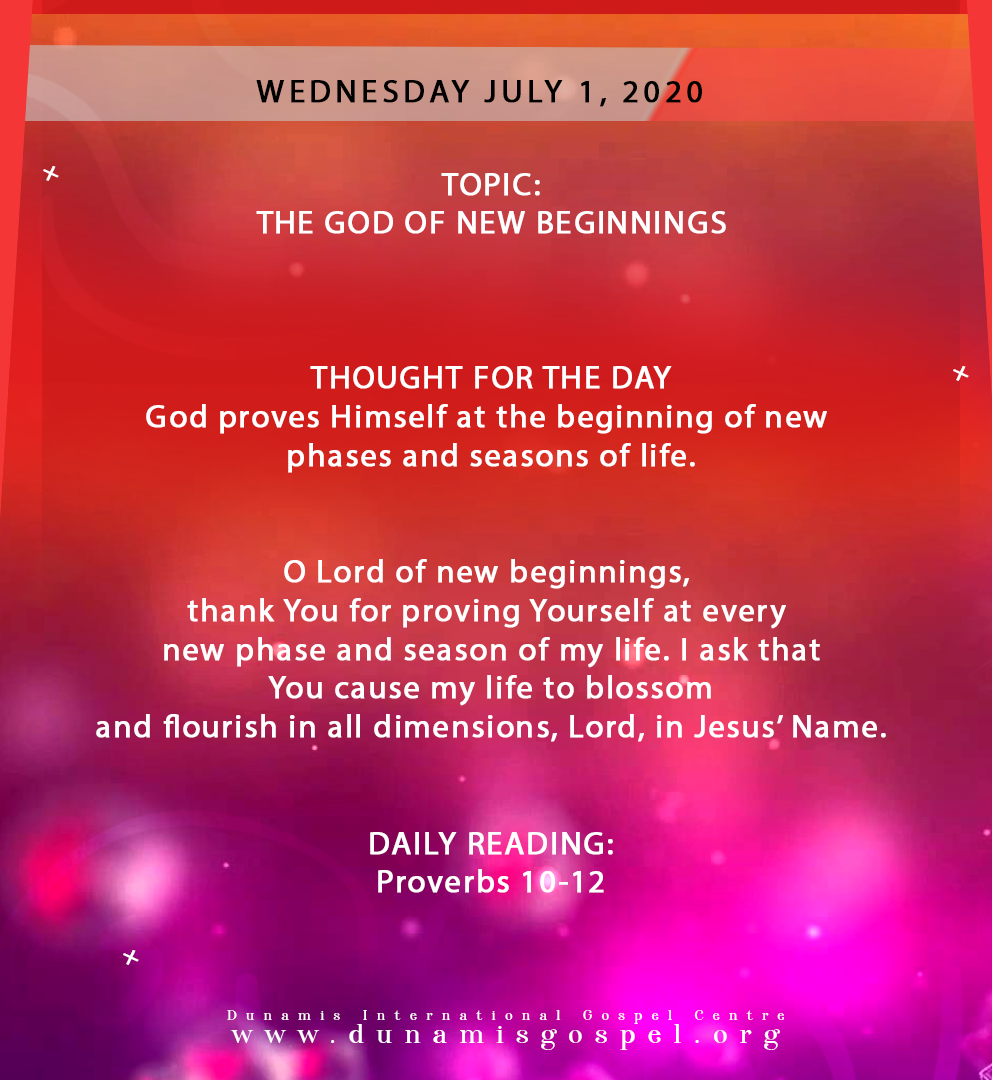 Seeds of Destiny 1 July 2020 - The God of New Beginnings