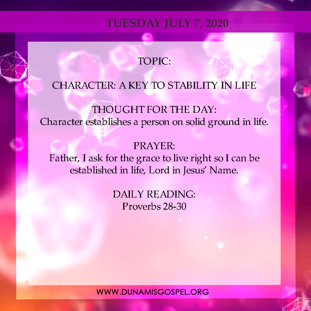 Seeds of Destiny 7 July 2020 - Character: A Key to Stability in Life