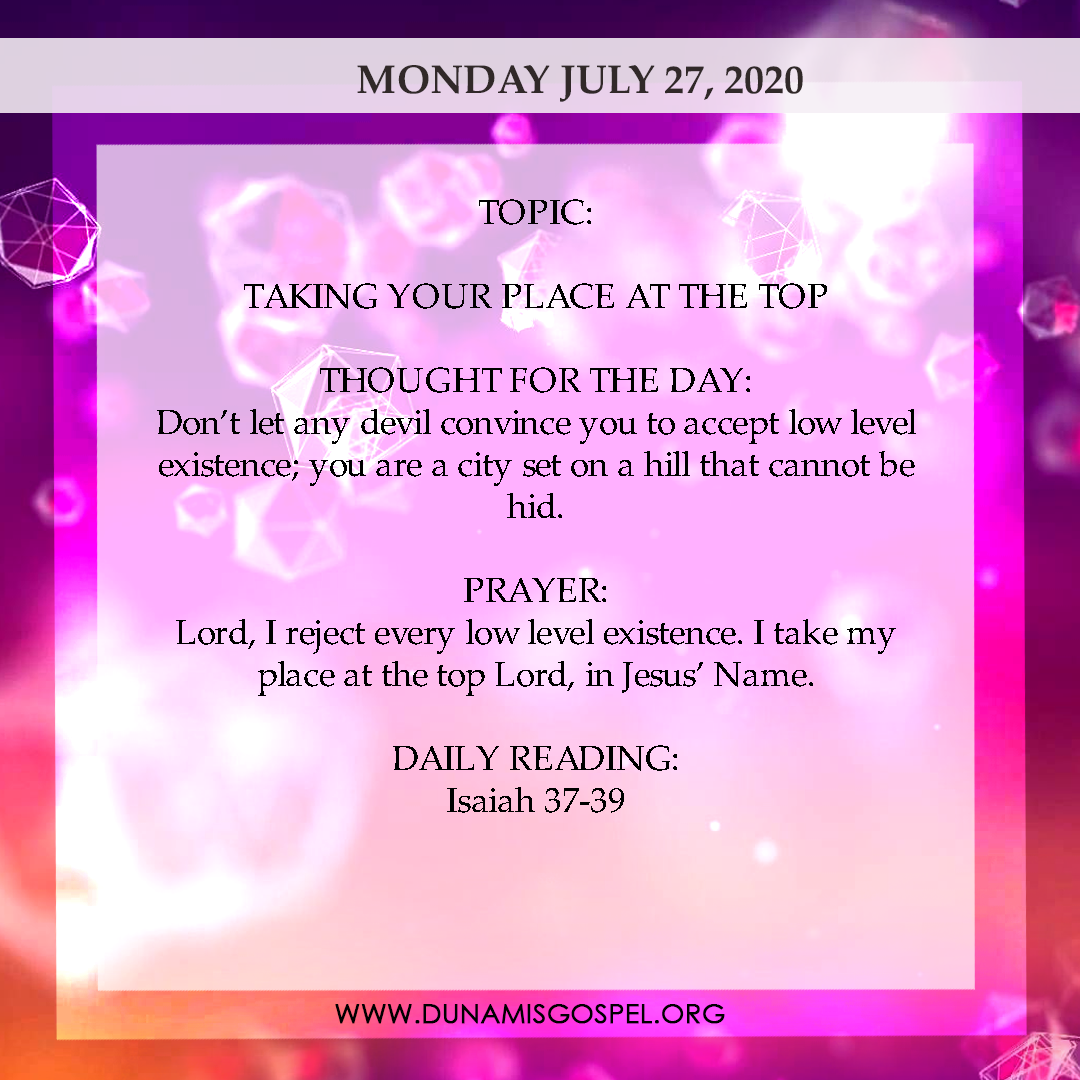 Seeds of Destiny 27 July 2020 - Taking Your Place At The Top