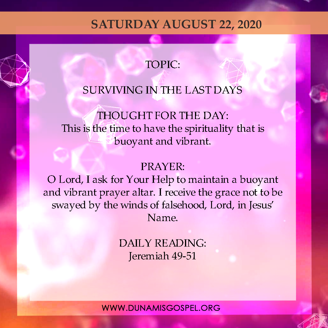 Seeds of Destiny 22nd August 2020, Seeds of Destiny 22nd August 2020 Devotional – Surviving In The Last Days, Latest Nigeria News, Daily Devotionals & Celebrity Gossips - Chidispalace