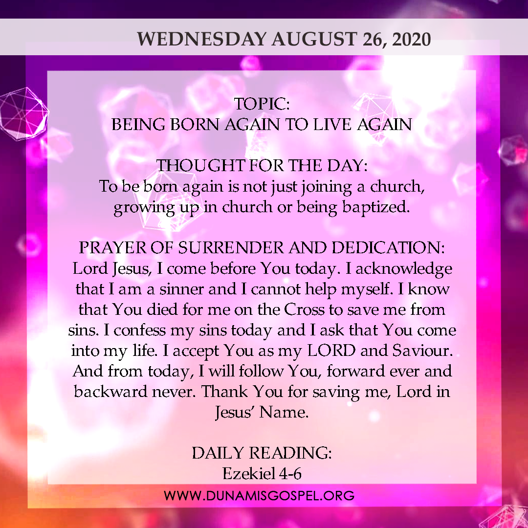 Seeds of Destiny 26th August 2020 - Being Born Again To Live Again