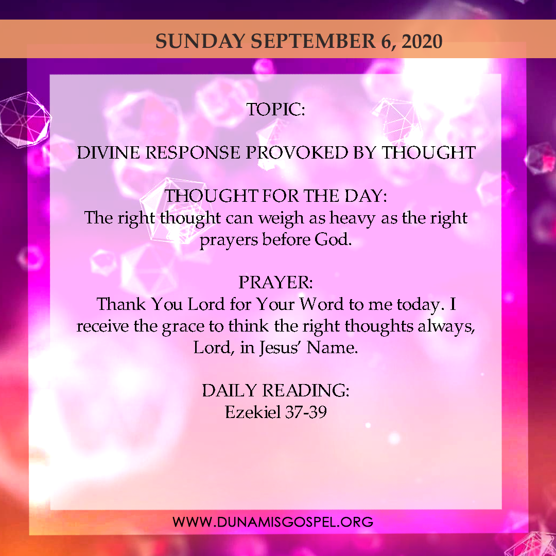 Seeds of Destiny 6th September 2020 - Divine Response Provoked By Thought