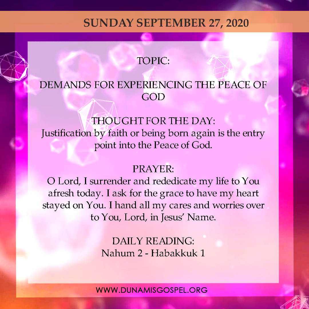 Seeds of Destiny 27th September 2020 - Demands For Experiencing The Peace of God