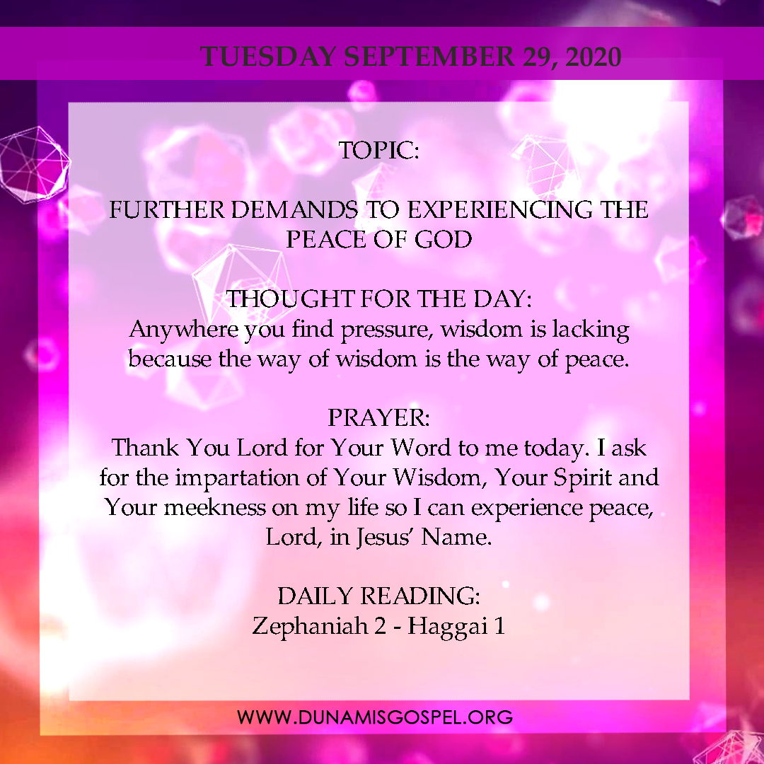 Seeds of Destiny 29th September 2020 - Further Demands To Experiencing The Peace of God