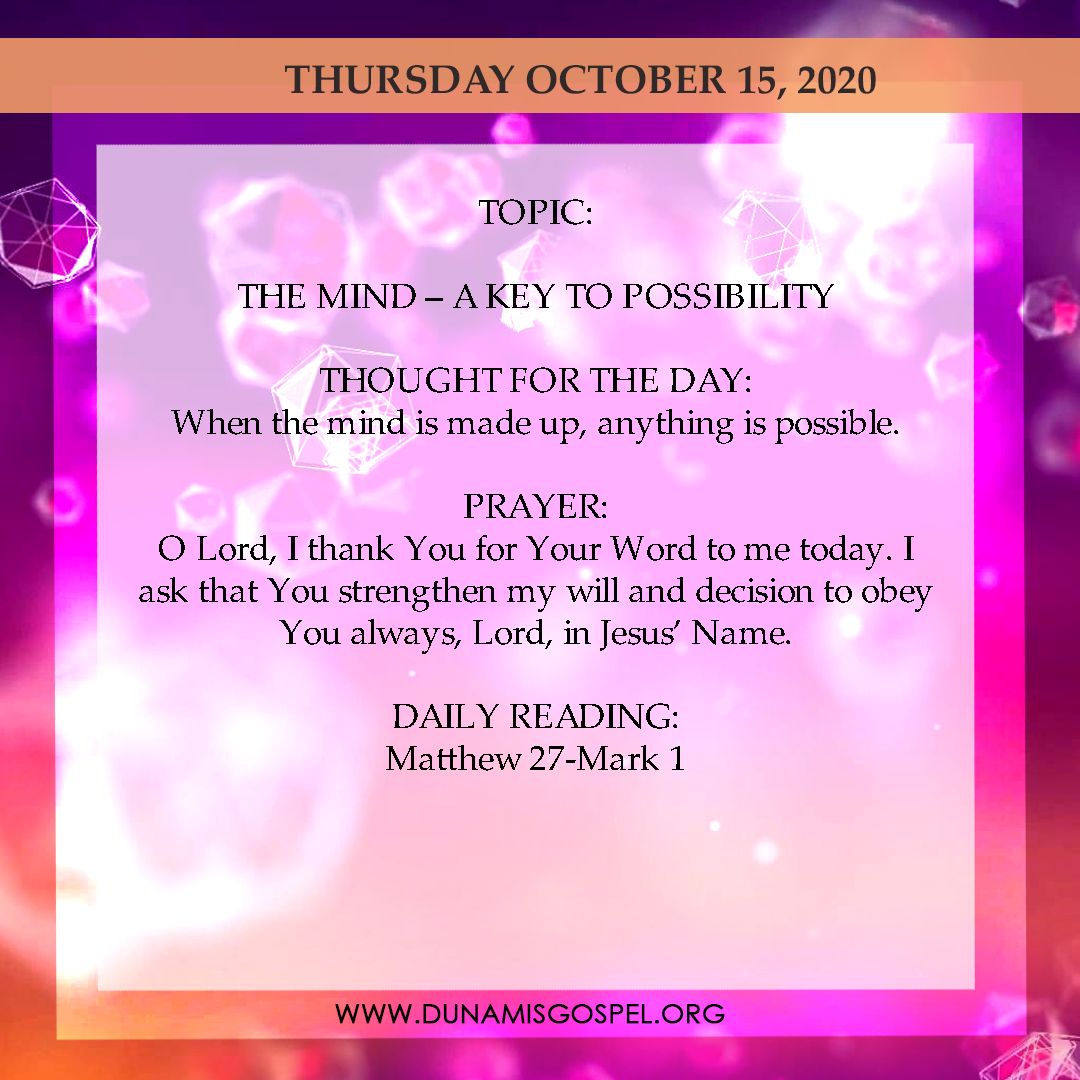 Seeds of Destiny 15th October 2020 Today Devotional, Seeds of Destiny 15th October 2020 Today Devotional: The Mind – A Key To Possibility, Latest Nigeria News, Daily Devotionals & Celebrity Gossips - Chidispalace