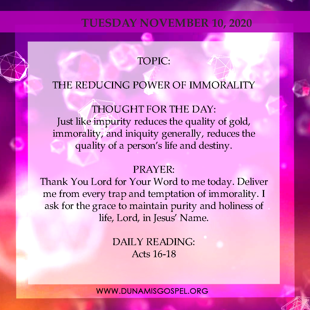 Seeds of Destiny 10th November 2020, Seeds of Destiny 10th November 2020 – The Reducing Power of Immorality, Latest Nigeria News, Daily Devotionals & Celebrity Gossips - Chidispalace