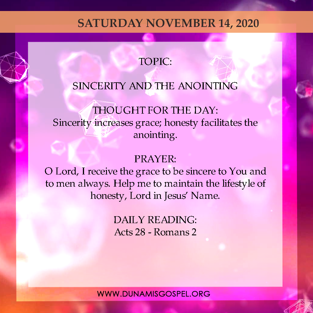 Seeds of Destiny14th November 2020, Seeds of Destiny Today 14th November 2020 – Sincerity And The Anointing, Latest Nigeria News, Daily Devotionals & Celebrity Gossips - Chidispalace