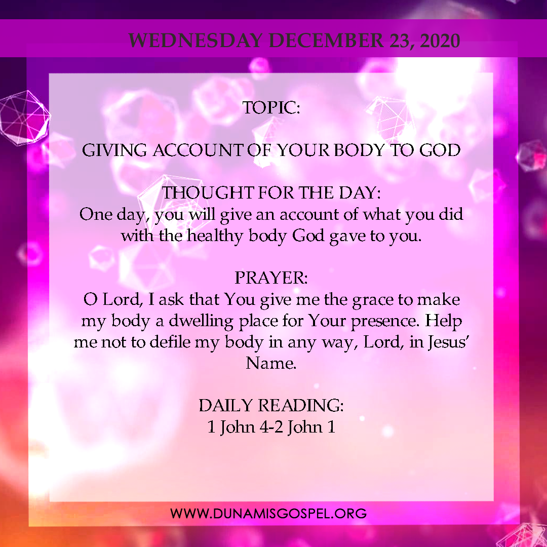 Seeds of Destiny Today 23rd December 2020, Seeds of Destiny Today 23rd December 2020 – Giving Account of Your Body To God, Latest Nigeria News, Daily Devotionals & Celebrity Gossips - Chidispalace